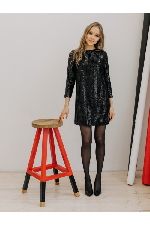 Платье пайетки AS081p/черный