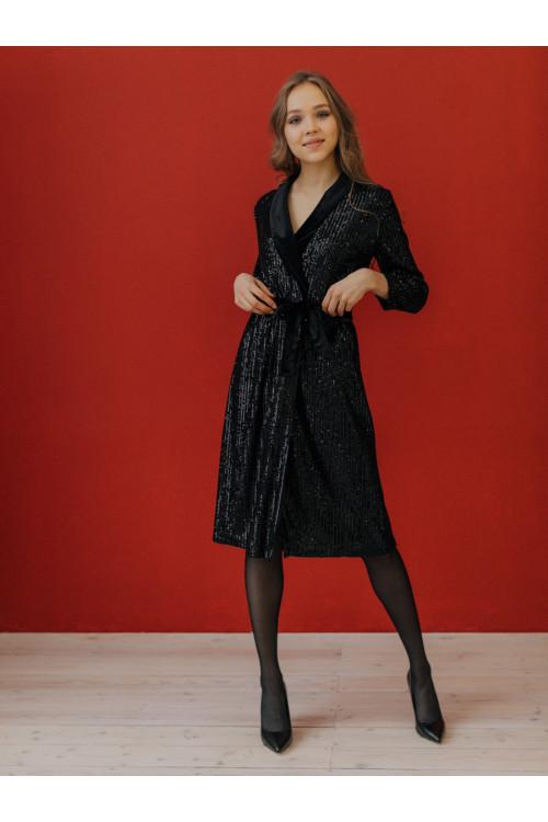 Платье -халат AS082pa/черный