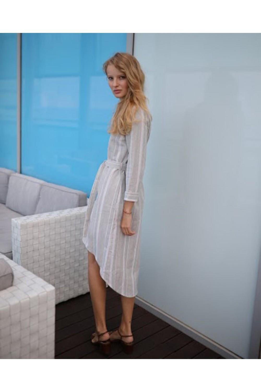 Летнее льняное платье в полоску #ASB016, серо-бежевый