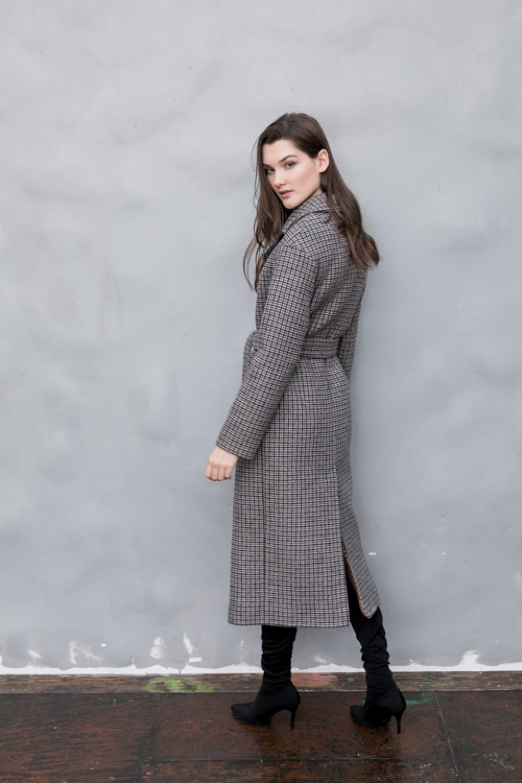 Удлиненное пальто с прорезными карманами #AS55-1mgl