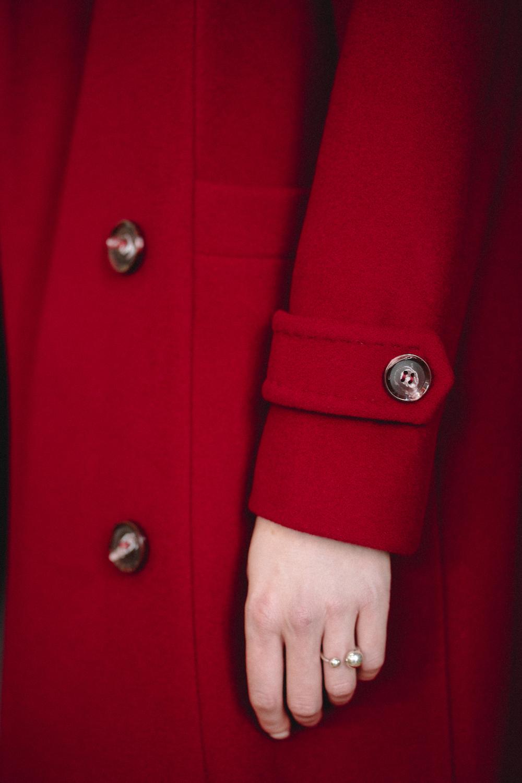 Двубортное пальто-кокон на пуговицах  #AS060