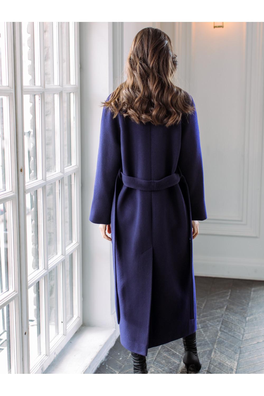 Длинное пальто-халат с накладными карманами AS063m