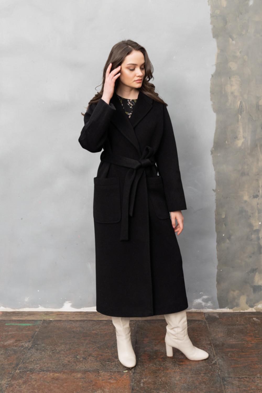 Длинное пальто-халат с накладными карманами #AS063m