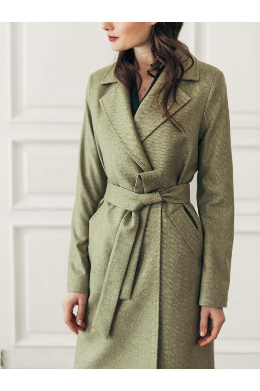 Двубортное пальто прямого силуэта на пуговицах #AS070mk