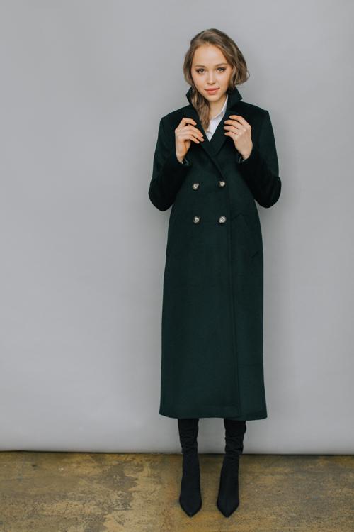 Двубортное длинное пальто А-силуэта AS071