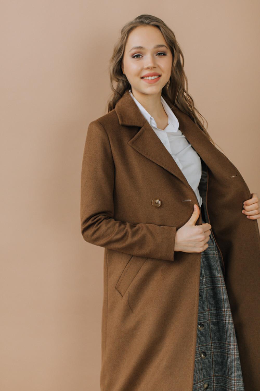 Двубортное длинное пальто А-силуэта #AS071