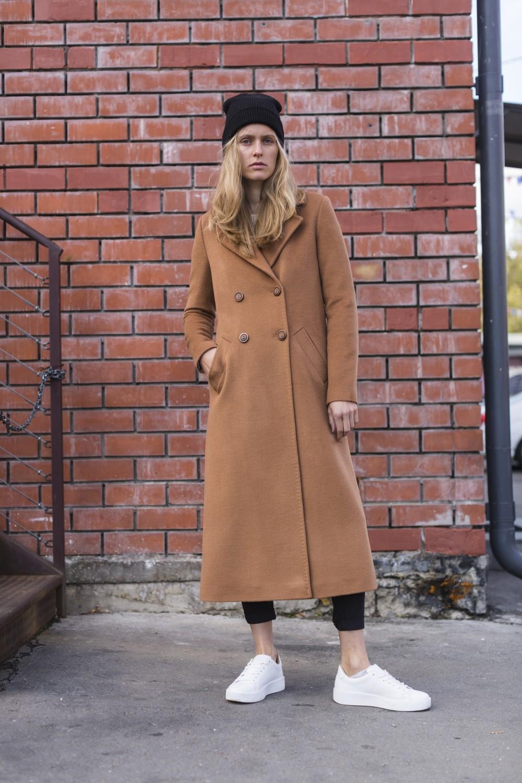 Двубортное длинное пальто А-силуэта #AS071m