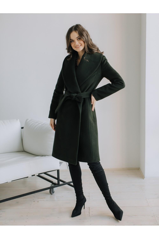Утепленное пальто с воротником «шалька» #AS38sw