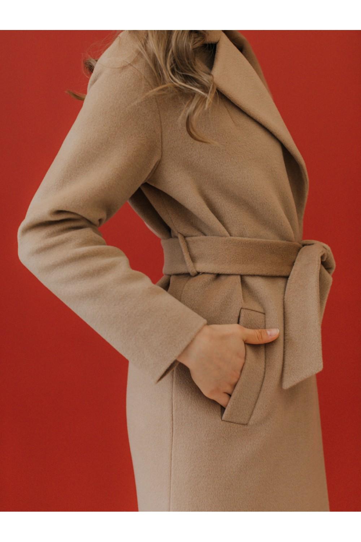 Классическое зимнее пальто-халат на запахе #AS50w