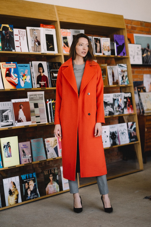 Удлиненное пальто с накладными карманами #AS55-1