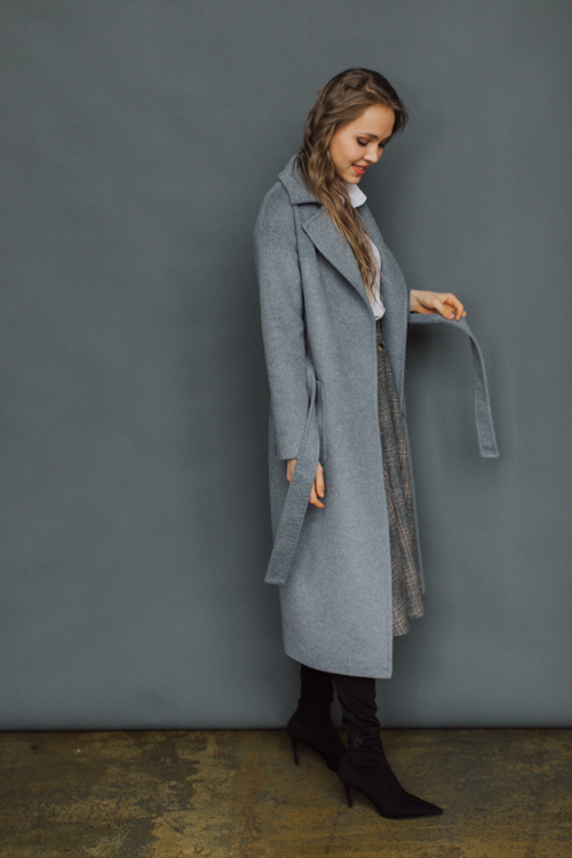 Удлиненное пальто с накладными карманами #AS55