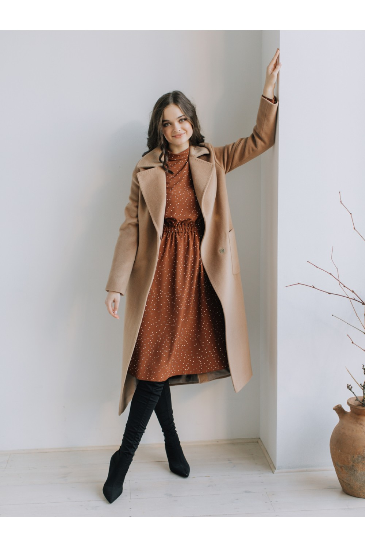 Классическое зимнее пальто-халат на запахе AS55w/бежевй1