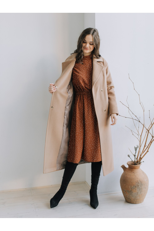 Классическое зимнее пальто-халат на запахе #AS55w