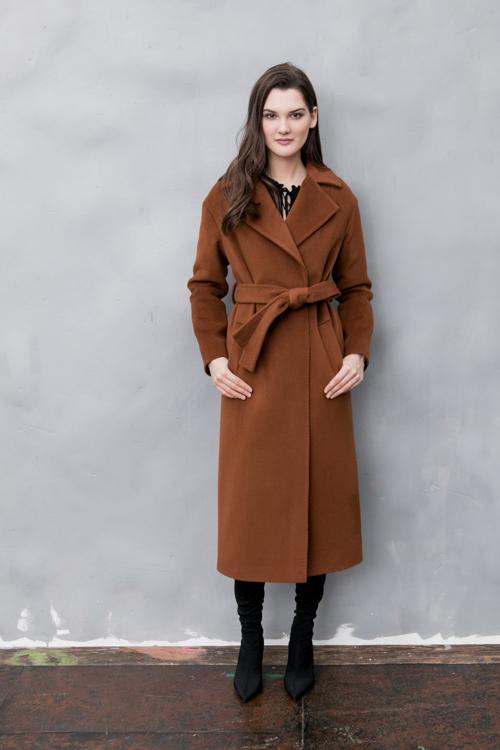 Классическое пальто-халат на запахе AS55-1w