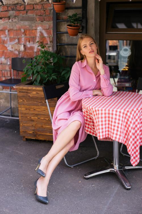 Платье-рубашка, розовый