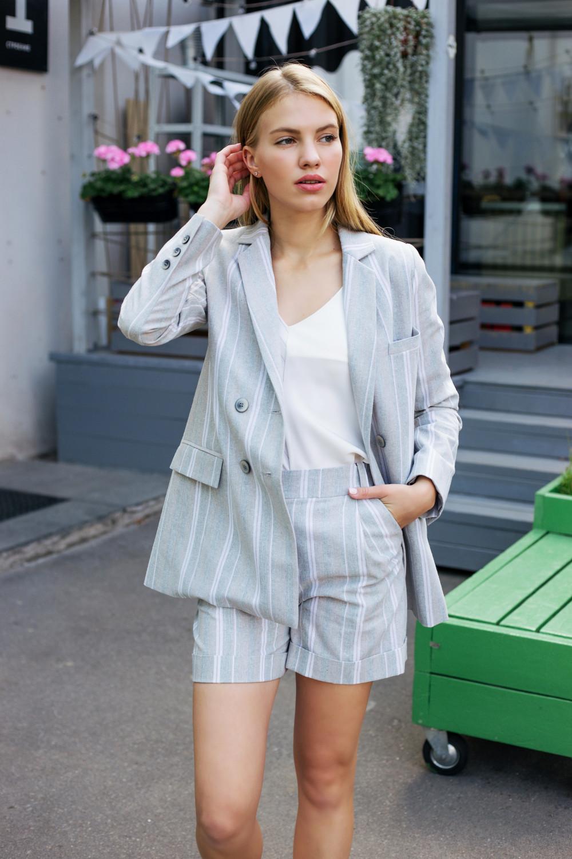 Пиджак льняной #AS06L, бежево-зеленый