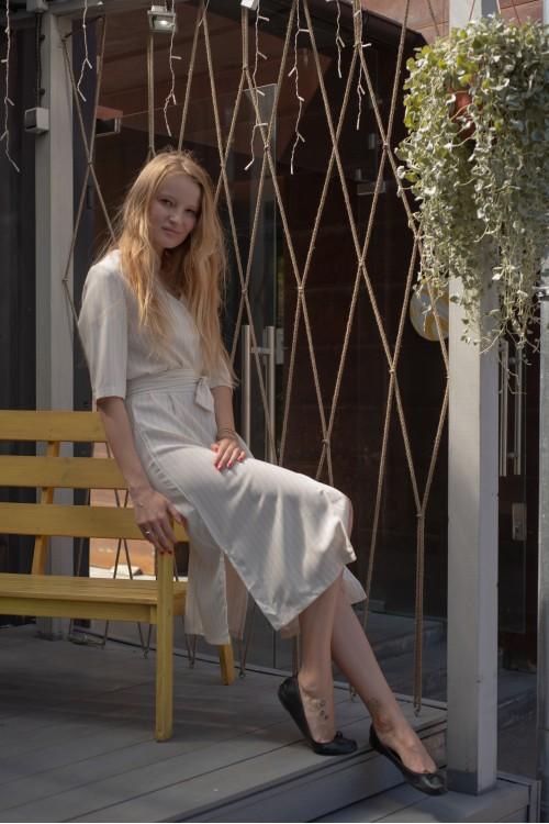 Платье в полоску, белый