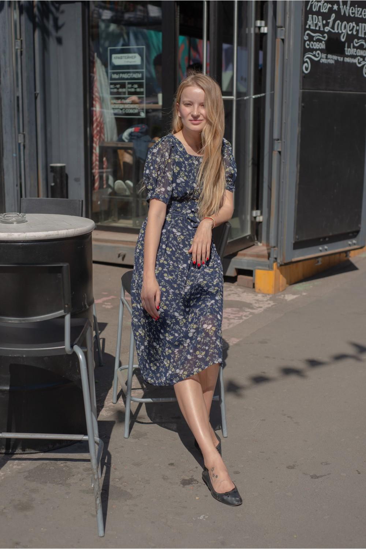 Платье в цветочек VS025/синий