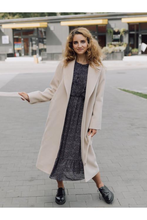 Длинное пальто-халат с прорезными карманами #AS063K-2