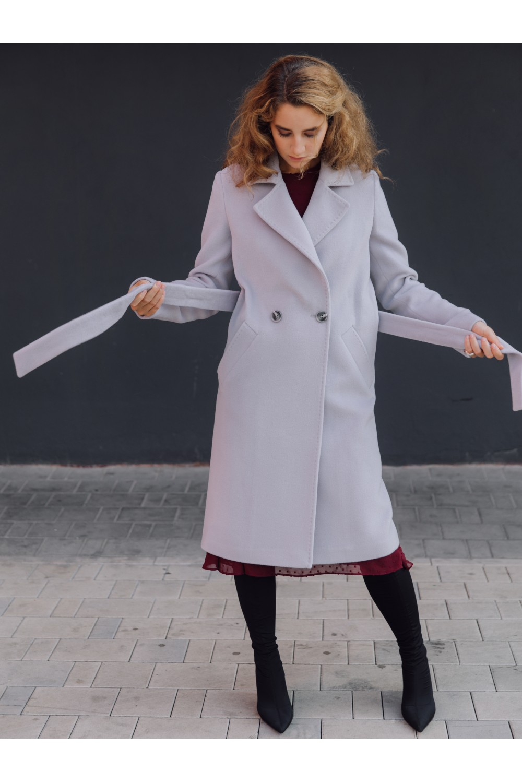 Двубортное пальто прямого силуэта на пуговицах #AS070Ks