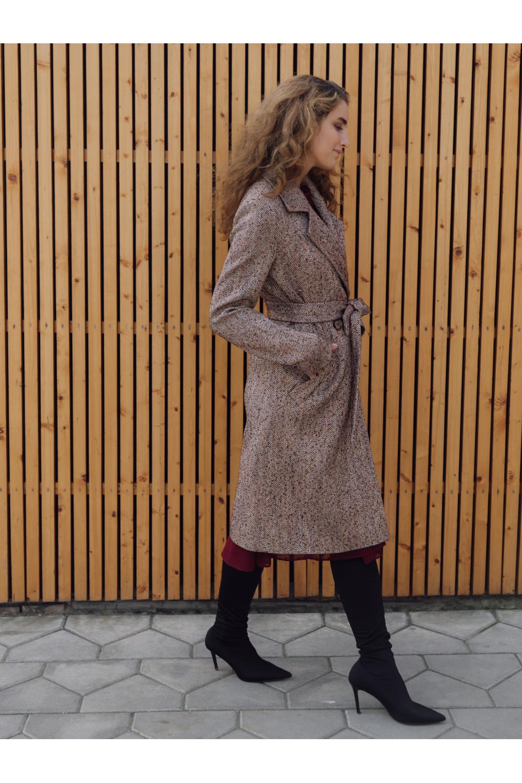 Двубортное пальто прямого силуэта на пуговицах #AS070Kt